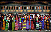 Bhutanese women in traditional dress, Thimpu, Bhutan