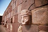 Carved stone heads in ruins, Tiahuanaco, Bolivia