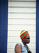 Rasta lady waiting for a lift, Soufriere, St. Lucia