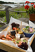 Fresh seafood served on Uto Island, Stockholm Archipelago, Sweden.