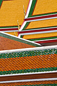Architectural detail of Wat Pho temple roof, Bangkok, Thailand