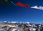 Prayer flags and Himalayas from the Tong La Pass, Friendship, Tibet