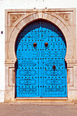 Ornate blue arched door, Close Up, Tunis, Tunisia