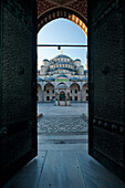 Courtyard of the Sultanahmet or Blue mosque at dawn, Istanbul, Turkey.
