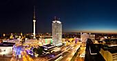 Alexanderplatz and the Fernsehturm at night, Berlin, Germany, Europe