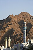 Oman, Muscat, Mutrah, minarets and mountains