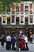 UK, Britain, England, London, Sherlock Holmes pub, people socializing after work
