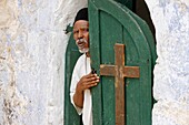 Israel, Jérusalem, Egyptian coptic priest at the Holy Sepulcher, Jerusalem