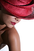 Portrait of a woman with red hat