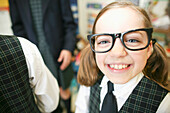 Canada, Québec, Montreal, private school, portrait of girl with eyeglasses