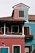 Italy, Veneto, Venice, Burano, house façade