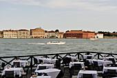 Italy, Veneto, Venice, Giudecca canal, restaurant terrace