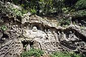 China, Zhejiang province, Hangzhou, Lingyin temple, statue of Buddha