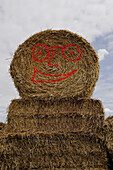 Haystacks with painted smiling face