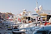 France, Var, Riviera, Yachts at Saint-Tropez Harbour