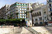 Algeria, Algiers, downtown, hôtel Albert 1st and mosque