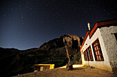 Nunnery with starry sky, monastery of Lingshed, Lingshed, Zanskar Range Traverse, Zanskar Range, Zanskar, Ladakh, India