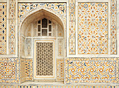 Marble with inlay stones on outside wall, tomb of Itimad-ud-Daula, Little Taj, Agra, Uttar Pradesh, India