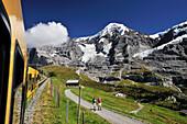 Rack railroad, Moench in background, UNESCO World Heritage Site Jungfrau-Aletsch protected area, Bernese Oberland, canton of Bern, Switzerland
