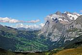 View over Grindelwald to Grosse Scheidegg and Wetterhorn, UNESCO World Heritage Site Jungfrau-Aletsch protected area, Bernese Oberland, canton of Bern, Switzerland