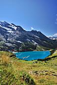 Mountain scenery with Oeschinen Lake, Bluemlisalp, UNESCO World Heritage Site Jungfrau-Aletsch protected area, Bernese Oberland, canton of Bern, Switzerland