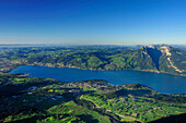 View from mount Niesen over Lake Thun to Sigriswiler Rothorn, UNESCO World Heritage Site Jungfrau-Aletsch protected area, Bernese Oberland, canton of Bern, Switzerland