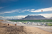 Beach impression at Bloubergstrand with views of Table Mountain and Cape Town, Western Cape, South Africa, RSA, Africa