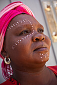 Black african woman in traditional tribal dress, Cape Town, Western Cape, South Africa