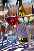 Wine glasses on table, Stellenbosch, Kapstadt, Western Cape, South Africa
