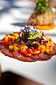 Carpaccio of ostrich with confitted peppers and pine nuts vinaigrette and babysalad, Restaurant Bosmans at Grande Roche Hotel, Paarl, Cape Town, Western Cape, South Africa, RSA, Africa