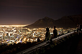 View from Signal Hill onto and Table Mountain, Cape Town, Western Cape, South Africa