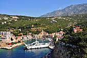Ferryboat in Jablanac underneath the Velebit mountain, Adriatic coast, Croatia