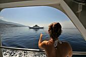 Woman on the ferry boat to Rab Island, Rab Island, Kvarnen Gulf, Croatia