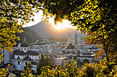 View from Moenchsberg towards Salzburg, Austria