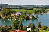 View over Lake Mattlake in Flachgau, Salzburg-land, Austria