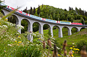 Train, Glacier Express, crossing the Bugnei Viaduct in Surselva, Graubuenden, Switzerland