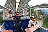 Inside view of a panoramic wagon of the Glacier Express, Switzerland