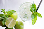 Caipirinha with limes and mint leaves, Cocktail, Alcoholic Drink