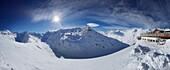 Mountain panorama at the Schoenwies alpine hut, Obergurgl, Tirol, Austria