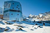 A hut in the mountains, the New Monte Rosa Hut, Zermatt, Valais, Switzerland