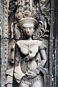 Female representation carved on wall of Bayon temple, Angkor, Siem Reap, Cambodia