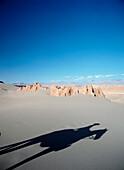 Shadow of cowboy in the Valle de la Muerte, Atacama, Chile, Valle de la Muerte, Atacama, Chile