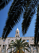 Ruined facade of building on Riva and the campanile of the cathedral of St. Domnius, Diocletian's Palace, Split, Crotia, Europe