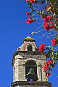 View from below of the bell tower of Catedral de Sand Critobal, Havana, Cuba.