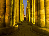 Columns in Court of Amenophis 3rd leading to Mosque of Abu el-Haggag, Luxor Temple, Luxor, Egypt