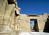 Looking through small courtyard of Temple of Ramses 3rd to forecourt of Temple of Amun, Karnak, Luxor, Egypt