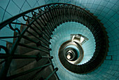Looking down the spiral staircase of the lighthouse, Ile Vierge near Aber Wrach, Brittany, France