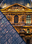 Detail of the glass pyramid outside the Louvre museum at dusk, Glass Pyramid, Louvre Museum (Musee du Louvre), Paris, France.