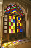 Colorful stained glass, Jodhpur, Rajasthan, India