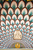 Decorated entrance area to doorway of the City Palace, Close Up, Jaipur, Rajasthan, India